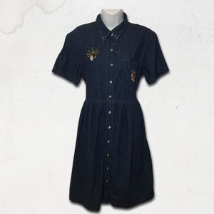 Short Sleeves Elastic Waist Collared Denim Dress